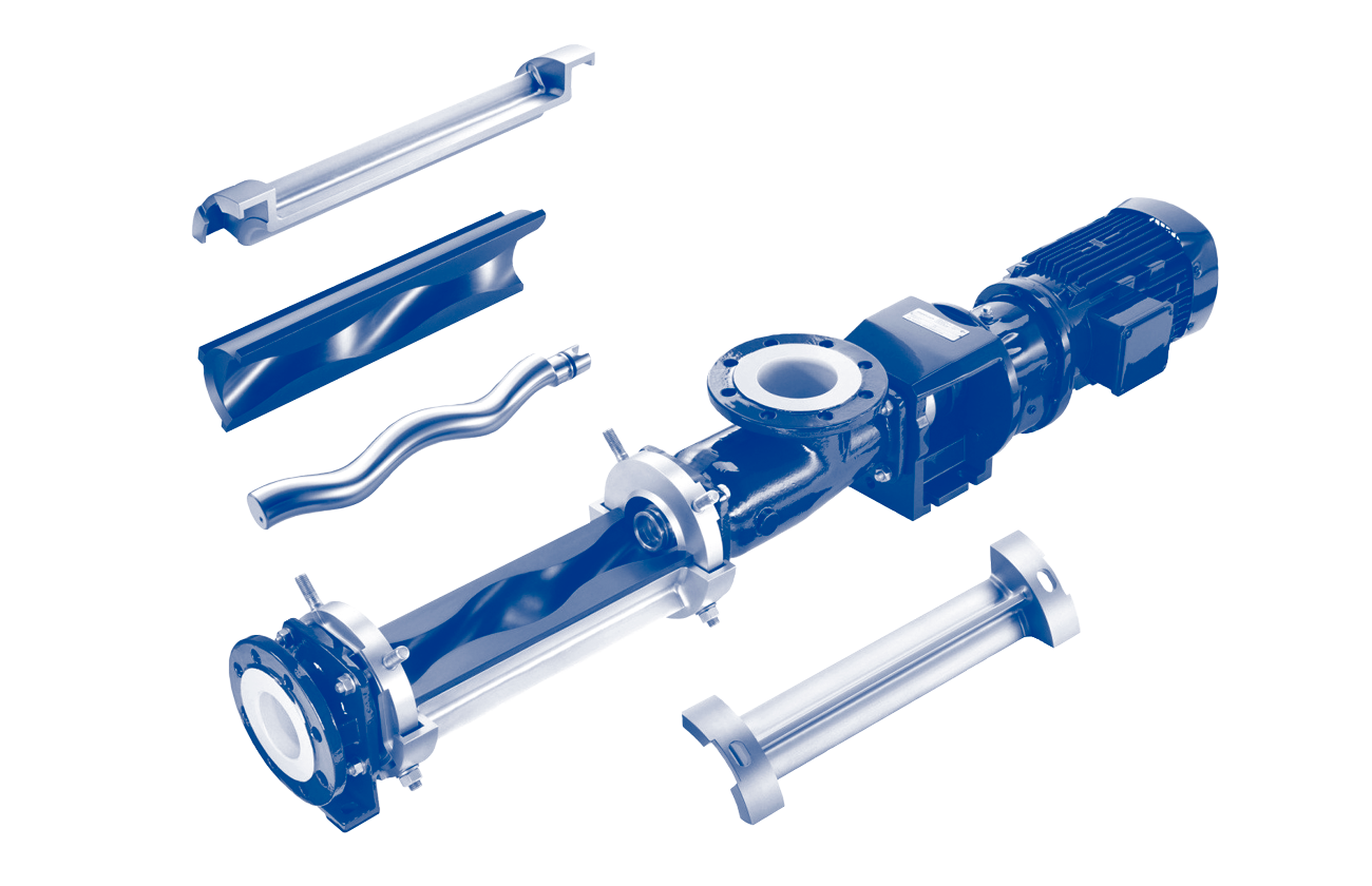 Cutout of a single screw progressive cavity pump for dense fluids